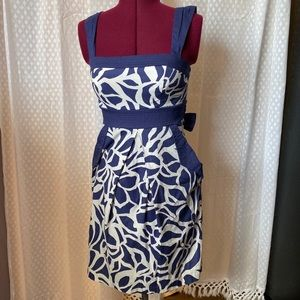Retro Navy Floral Dress Size 3